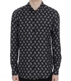 Dolce & Gabbana Black Floral Print Pajama Shirt