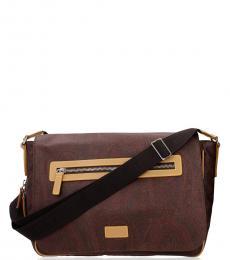 Etro Brown Paisley Zip Large Messenger Bag
