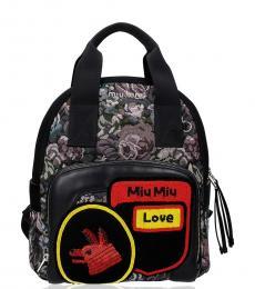 Miu Miu Black Graphic Medium Backpack
