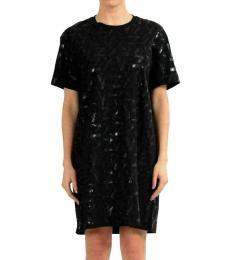 Versus Versace Black Sparkle Short Sleeve Dress