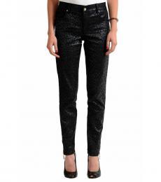 Black Patterned Slim Fit Jeans