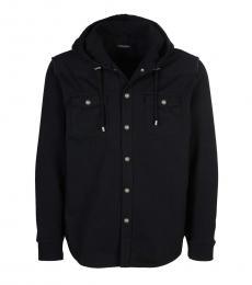 Balmain Black Hooded Button Down Shirt
