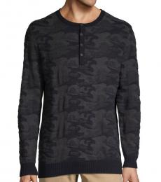 Black Camouflage Cotton Henley