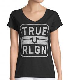 True Religion Black Embellished Cotton T-Shirt
