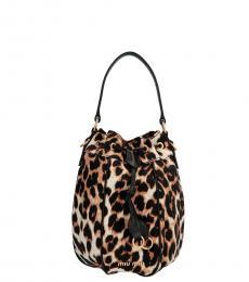 Miu Miu Leopard Print Animalier Small Bucket Bag