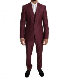Cherry Wool 3 Piece Double Breasted Suit