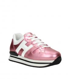 Hogan Pink White Leather Sneakers