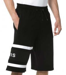 Black Logo Cotton Bermuda Shorts