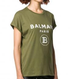 Balmain Olive Glitter Logo Tee
