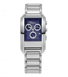 Roberto Cavalli Silver Blue Chrono Dial Watch