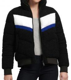 DKNY Black Color Block Sherpa Puffer