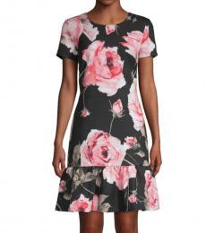 Karl Lagerfeld Black Floral Flounce-Hem Dress