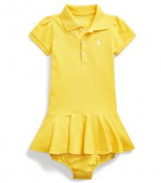 Ralph Lauren Baby Girls Lemon Rind Pique Polo Dress