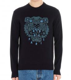 Kenzo Navy Blue Logo Patch Sweater