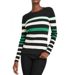 Polo Black Green Striped Sweater