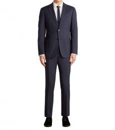 Emporio Armani Dark Blue Tonal Dot Notch Wool Suit