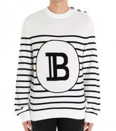 Balmain Blackwhite Mariniere Logo Sweater
