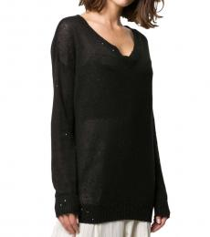 Black Sequin-Embellished Loose-Fit Jumper