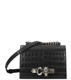 Alexander McQueen Dark Grey Textured Small Shoulder Bag