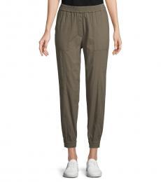 Olive Cotton-Blend Jogger Pants
