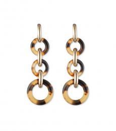 Ralph Lauren Gold-Brown Graduated Link Drop Earrings