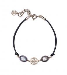 Tory Burch Grey Logo Miller Pearl Bracelet