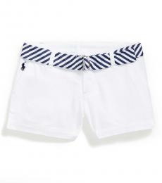 Little Girls White Belted Chino Shorts