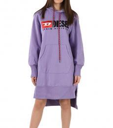 Diesel Light Purple Logo Hoodie Dress