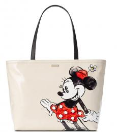 Kate Spade White Minnie Mouse Medium Tote