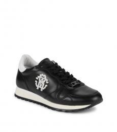 Roberto Cavalli Black Firenze Leather Sneakers