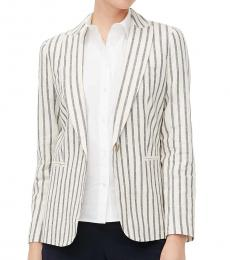 Multi Color Striped Linen Blazer