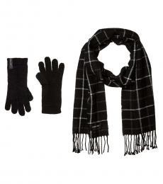 Calvin Klein Black Plaid Woven Scarf and Gloves Set