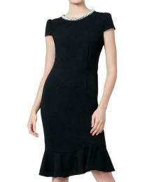 Betsey Johnson Black Petite Embellished Sheath Dress