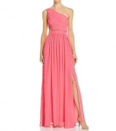 BCBGMaxazria Light Begonia Pleated Formal Evening Dress