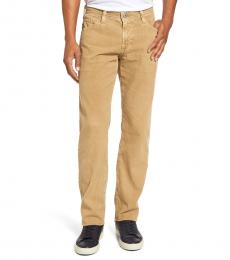Light Brown Tailored Straight Corduroy Pants