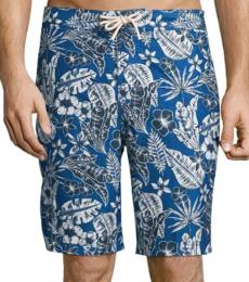 Tommy Bahama Dark Blue Baja Forte Floral-Print Swim Trunks
