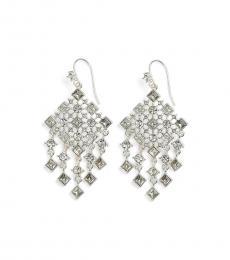 Ralph Lauren Silver Stone Drop Chandelier Earrings