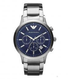 Emporio Armani Silver-Blue Chronograph Classic Watch