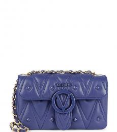 Mario Valentino Midnight Blue Poisson Quilted Small Shoulder Bag