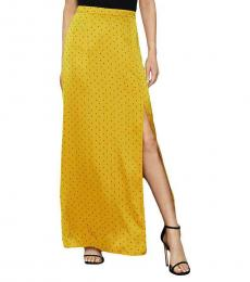BCBGMaxazria Yellow Satin Printed Slit Maxi Skirt
