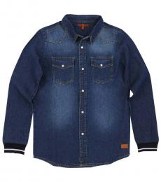 7 For All Mankind Boys Valley Blue Lightweight Woven Shirt