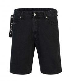 Diesel Black Logo Zipper Shorts