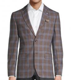 Ben Sherman Brown Standard-Fit Overcheck Sportcoat