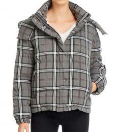 Grey Plaid Puffer Jacket