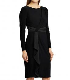 Ralph Lauren Black Gathered Ruffled Dress