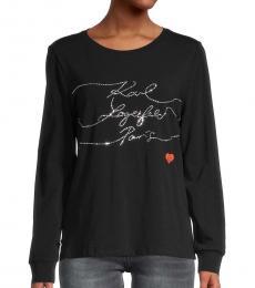 Karl Lagerfeld Black Stripe Long-Sleeve T-Shirt