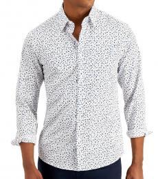 Michael Kors White Slim-Fit Micro Print Shirt