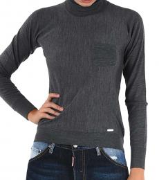 Dsquared2 Gray Wool Turtle-Neck Sweater