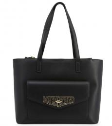 Black Turnlock Pocket Large Tote