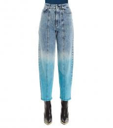 Light Blue Retro Stone Rainbow Jeans